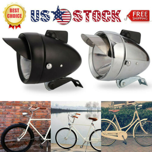 US Retro Bicycle Metal Chrome Vintage Headlight Bike LED Bright Front Head Light