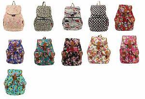 Women s Canvas Satchel Shoulder Backpack School Rucksack Bags Travel ... e521621ac1