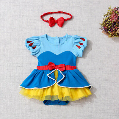2PCS Baby Girl Snow White Princess Romper Tutu Dress Headband Outfit Costume ZG9