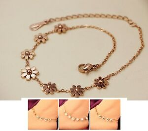 Image Is Loading Stainless Steel Rose Gold Anklet Foot Jewelry Daisy