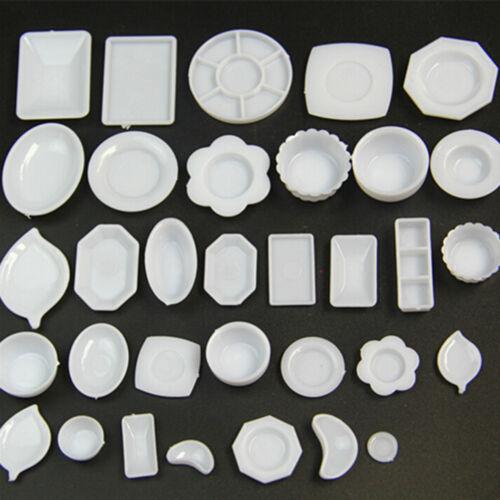 33 Pcs Dollhouse Miniature Tableware Plastic Plate Dishes Set Mini Food Fq