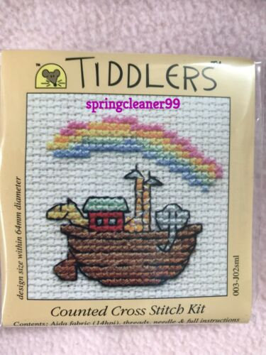 Mouseloft tiddlers Cross Stitch Kit ~ Noah/'s Ark /& Arco Iris ~ 5.5cm X 5.5cm ~ Nuevo
