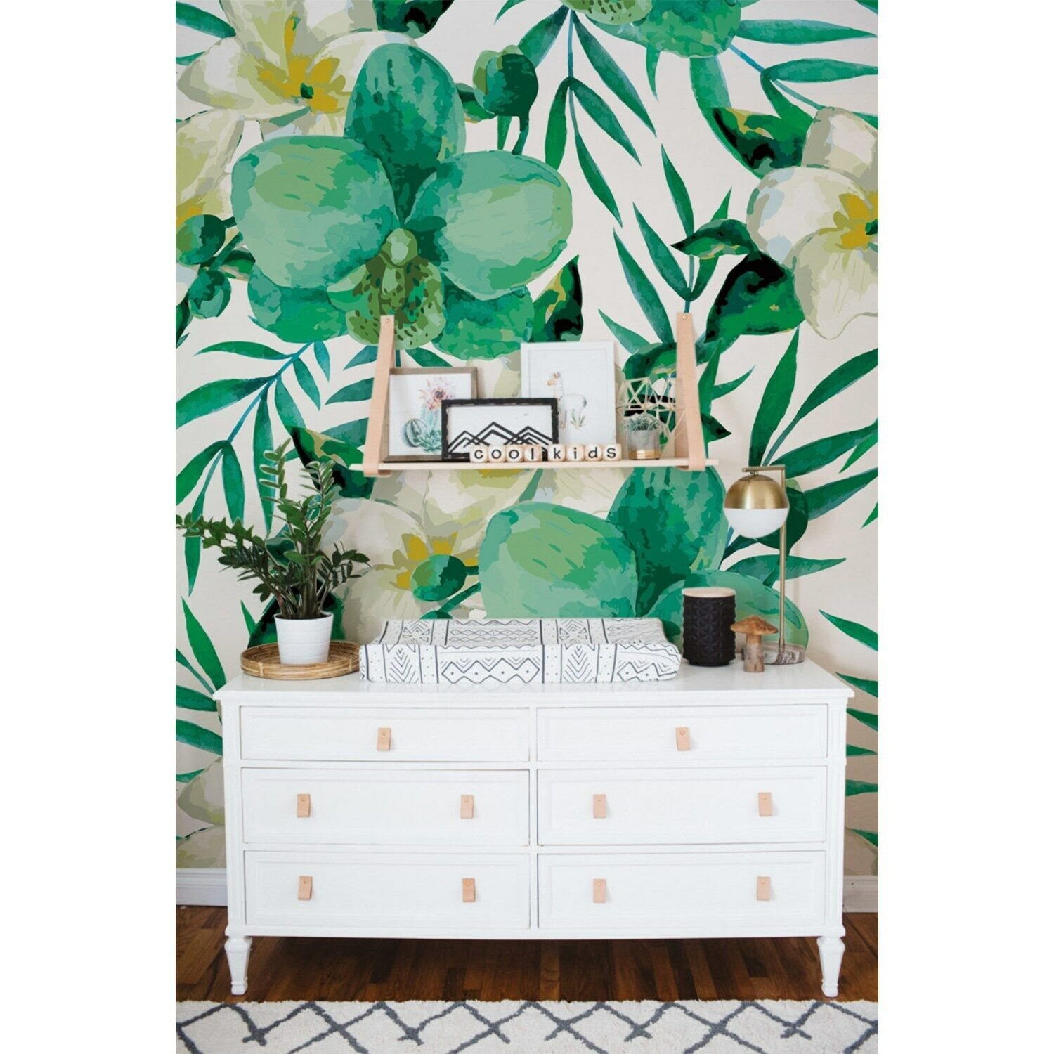 Tropical Non-Woven wallpaper Floral WaterFarbe leaves Summer Island home  Mural