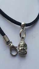 "THAI BUDDHA TIBETAN SILVER CHARM ON BLACK 3MM VELVET CORD  18""NECKLACE."