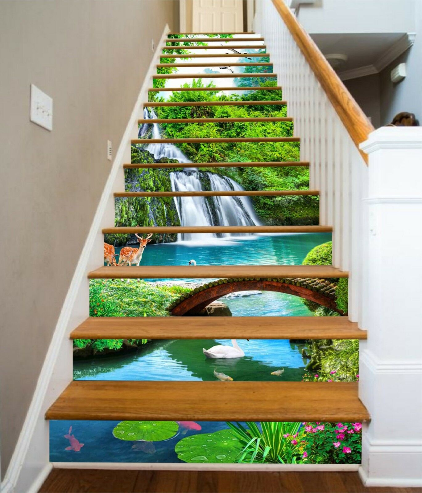 3D Waterfall Deer Stair Risers Decoration Photo Mural Vinyl Decal Wallpaper CA