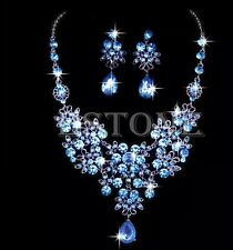Blue Wedding Jewellery Bridal Necklace Earring Rhinestone set