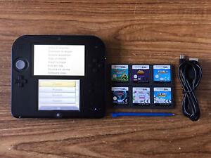 Nintendo 2DS Black & Blue Handheld System Console Bundle +6 Games & Charger