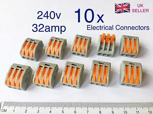 10-x-Wago-3-way-Electrical-Lever-Connectors-Wire-Terminal-Block-Clamp-222-415