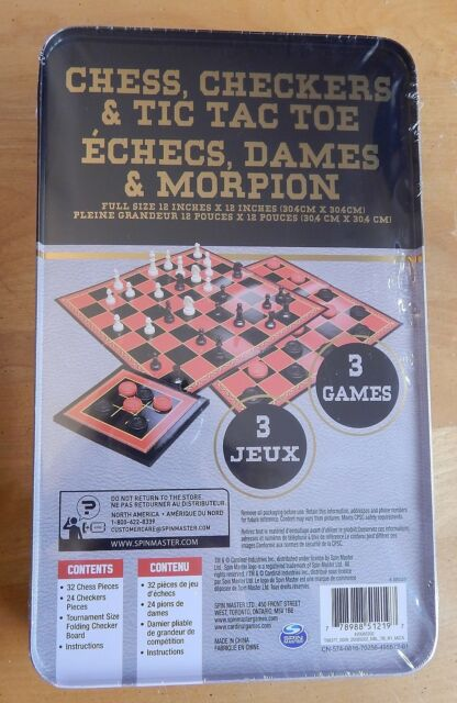 Chess Checkers Tic Tac Toe 3 Game Set By Spin Master Family Games Ebay
