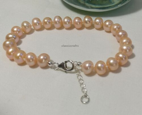 Genuine solid silver 8-9mm Oblate freshwater pearls bracelet L18cm+3cmchain Pink