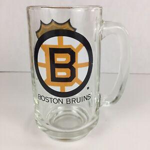 Vintage-1970-039-s-BOSTON-BRUINS-Hockey-NHL-Shield-Logo-Glass-Beer-Mug
