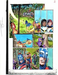 Original-1998-Marvel-Avengers-3-color-guide-art-page-Perez-Captain-America-Thor