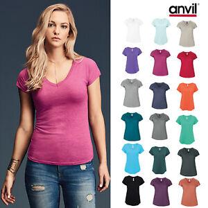 ANVIL New Women/'s ½ Sleeve Tee Casual Blank Ladies T Shirt Plain Scoop Neck Top