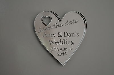 NEW Personalised SAVE THE DATE wedding hearts (or any message) - FRIDGE MAGNETS