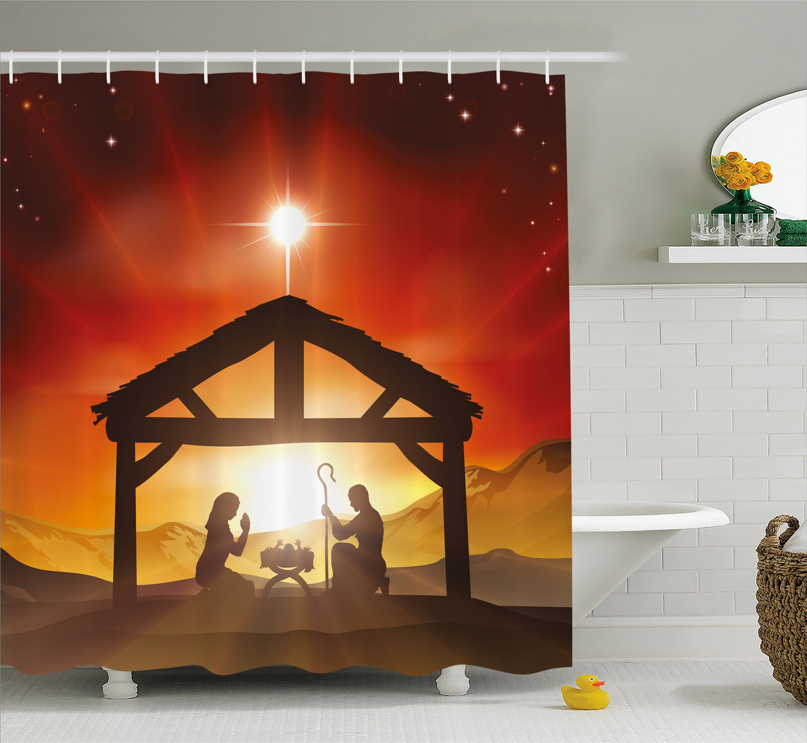 Religious Shower Curtain Baby Messiah Nativity Print For Bathroom 84 Extralong 0d616a