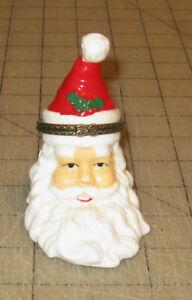 "Vintage 3.5"" Tall Ceramic SANTA CLAUS HEAD Trinket Box - Unbranded - Christmas"