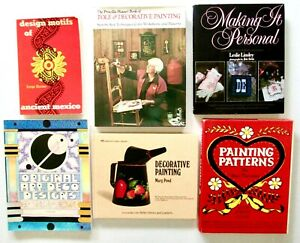 DESIGN-MOTIFS-Lot-of-6-Books-Patterns-for-Decorative-Painting-Crafts-Tole-etc