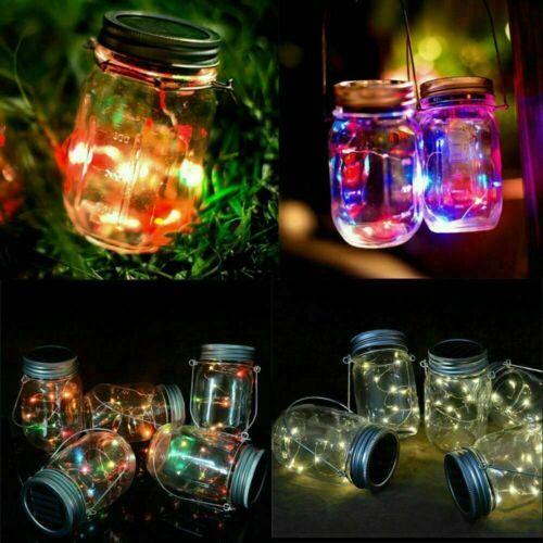 20LEDs Solar LED Fairy Mason Jar Lid Night Light Garden Lamp Party Wedding Decor