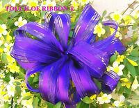 10 Wide Bows Ribbons Wired Purple Satin Stripe Wreaths Bridal Gifts Birthdays