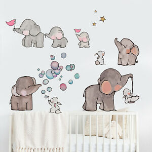 Details About Elephant Wall Stickers Nursery Children S Bedroom Baby Fl Animal Decals