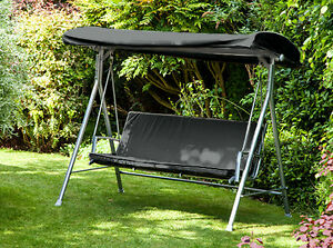 Black Replacement Canopy For Argos Malibu 3 Seater Swing