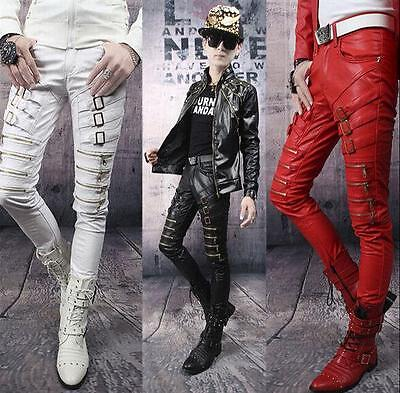 Men's Slim fit New Buckle Leather Pencil Pants Straight Patent Casual Trousers#