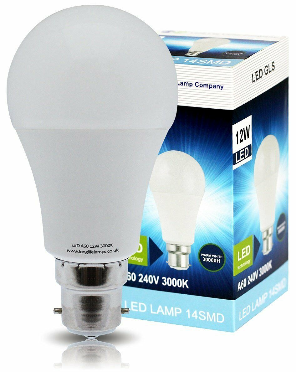 12W GLS LED Warm White Light Bulb A60 B22 Bayonet Very Bright Equivalent 120W