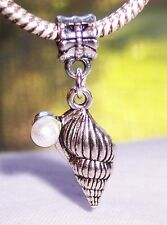 Seashell White Pearl Beach Conch Shell Dangle Bead for European Charm Bracelets