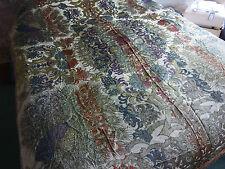 Antico VINTAGE tessile tessuti di seta per letto gettare PAVONI