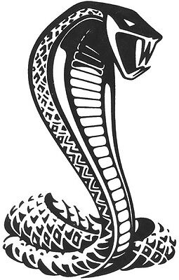 "Cobra Hood Decal Ford Mustang 24/""x18/"" large Auto vinyl graphic car body Blk Wht"