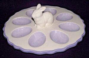 Deviled-Eggs-Easter-Rabbit-Bunny-Dish-Tray-White-Lilac-Ceramic-Purple-Table-New