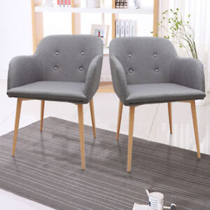 Details About Dark Grey 2 4pcs Linen Fabric Dining Chairs Flat Back Office Lounge Armchairs Uk