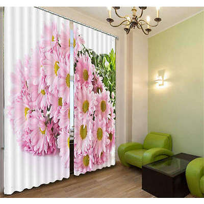 Pink And Brilliant Flower 3D Curtain Blockout Photo Print Curtains Fabric Window