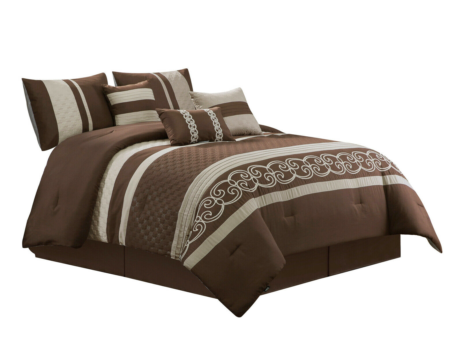 7-P Freya Comforter Set Scroll Star Snowflake Embossed Pleated braun Taupe König