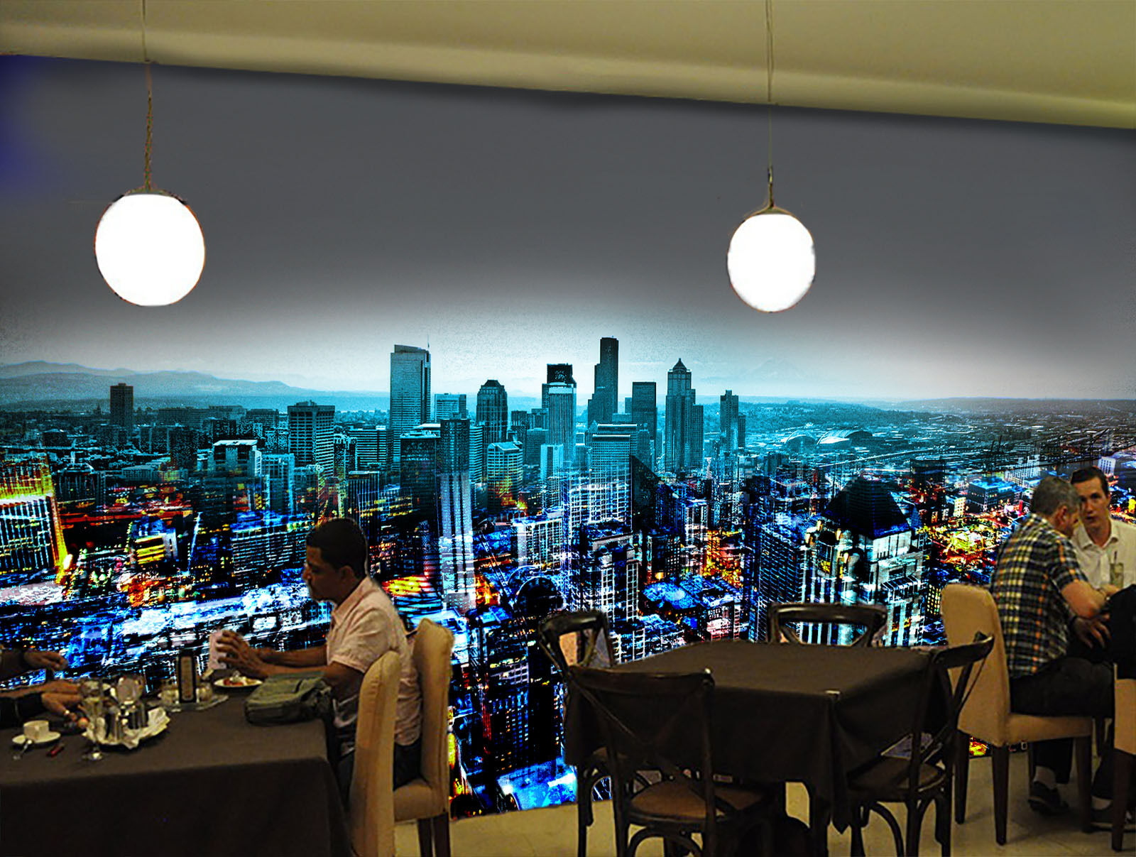 3D Overlooking the city view Wall Paper Wall Print Decal Wall Deco AJ WALLPAPER