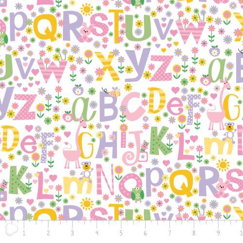 Tissu 100/% Coton Brossé//Flanelle Camelot Alphabet Rose 21179902B-2