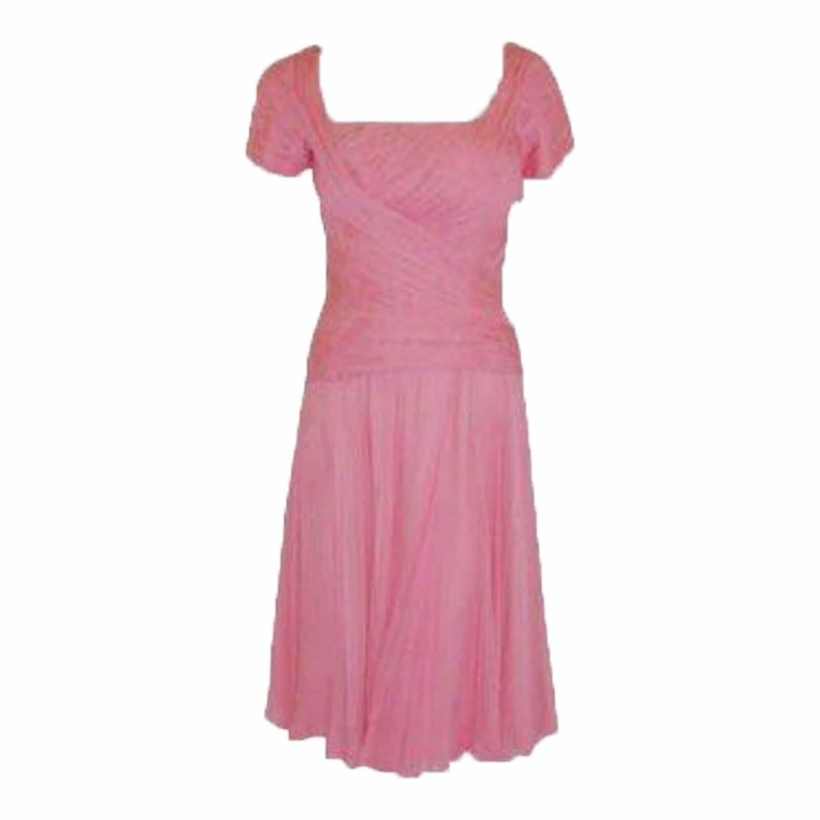 CEIL CHAPMAN 1960s Pink Chiffon Bodice Cocktail D… - image 1