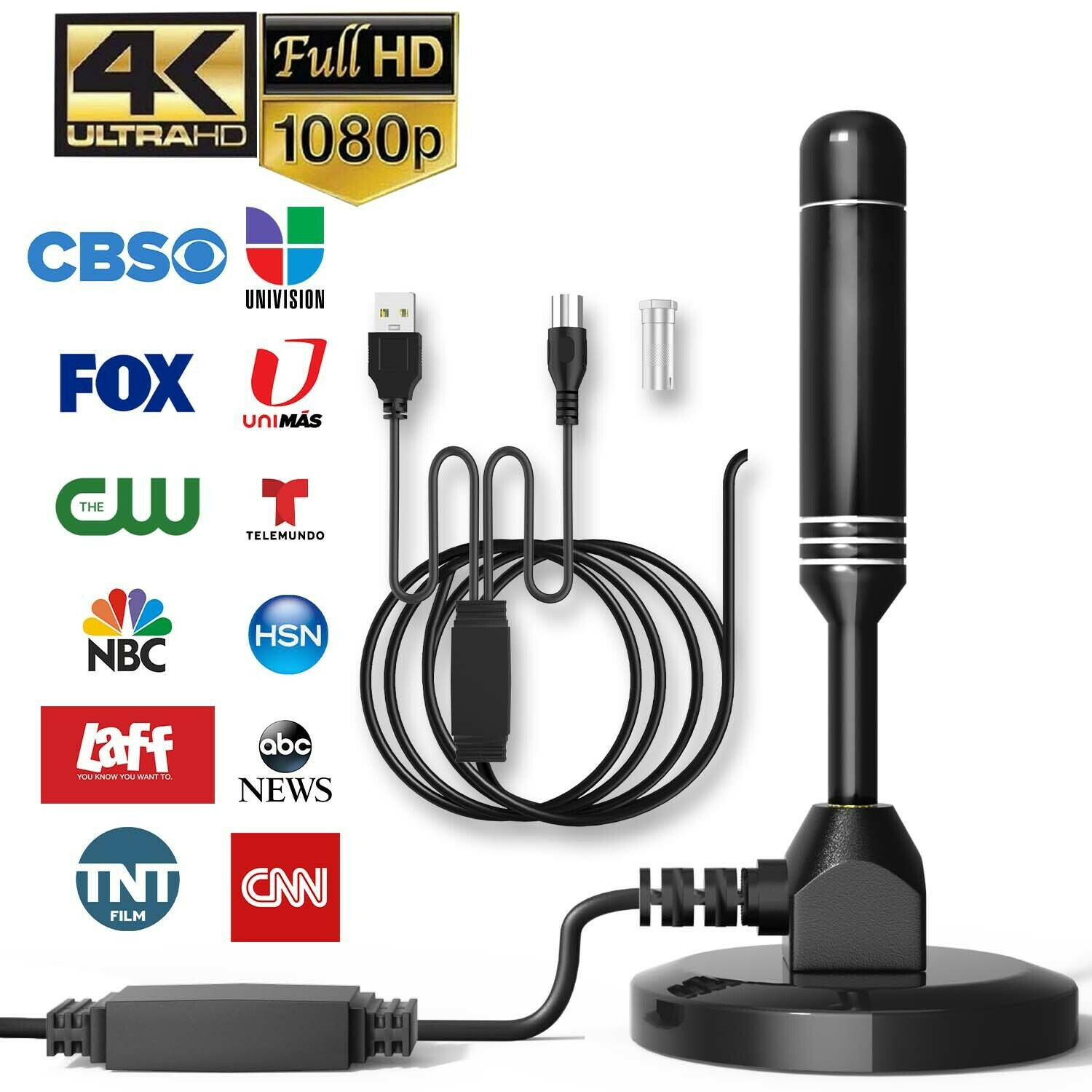 3000 Miles Upgraded TV Antenna HDTV Amplified Digital 4K 1080P W/ Magnetic Base. Available Now for 13.95