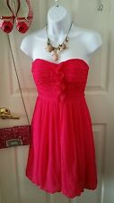 Pink/Fuchsia Ruched Tube,Bubble Prom/Party Cocktail Dress Size Small Strapless
