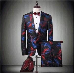 bloemenprint luxe jas jurk kostuum fit jassen formele Heren blazer slim pak BoWdxeCr