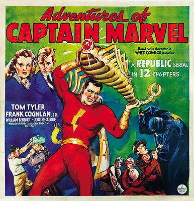 Tom Tyler cult serial movie poster 24x25 1941 Adventures of Captain Marvel