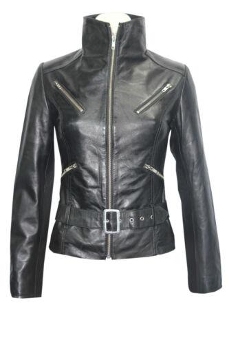 cuir de en Veste créateur 7390 pour noirelongueurstyle véritable luxe femmesceinture lcu13TKJF