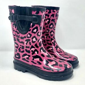 Cherokee-Youth-Girls-Hot-Pink-Leopard-Cheetah-Print-Rain-Boots-Size-1