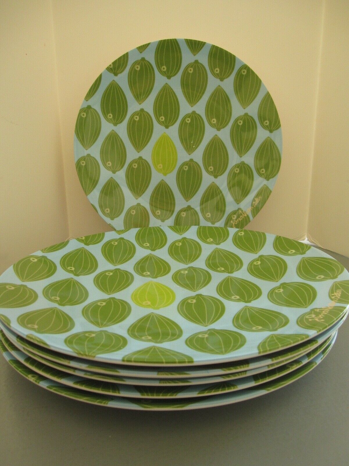 NEW Precidio Objects Jonathan Adler Palm Beach Fish Manhattan 6 PlatesREDUCED