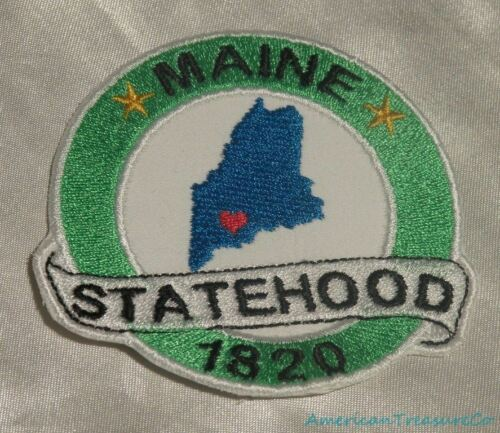 Embroidered Maine State Pride Statehood ME Souvenir Patch Iron On Sew On USA
