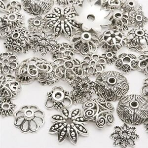 Wholesale-Tibetan-Silver-Spacer-Beads-Metal-Findings-Craft-Making-End-Caps-Sy