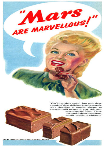 vintage Chocolate bar  Advertising poster reproduction. Mars are Marvellous