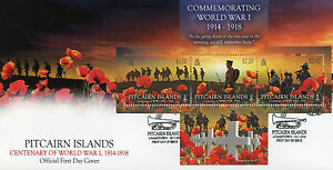 Pitcairn Islands 2014 FDC Commemorating World War I 3v MS Cover Poppy WWI Stamps