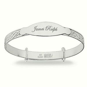 Personalised-925-Sterling-Silver-Baby-Christening-Bangle-Bracelet-Any-Name-Gift