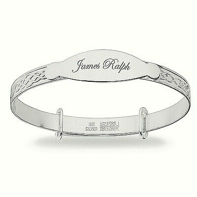 Solid Silver Baby Christening Bracelet Expandable Bangle Birthday Baptism Gift